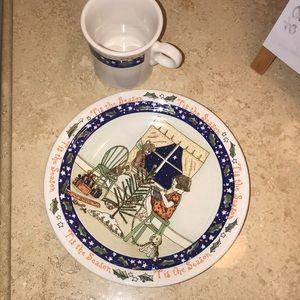 Homer Laughlin Christmas Plate and Mug.